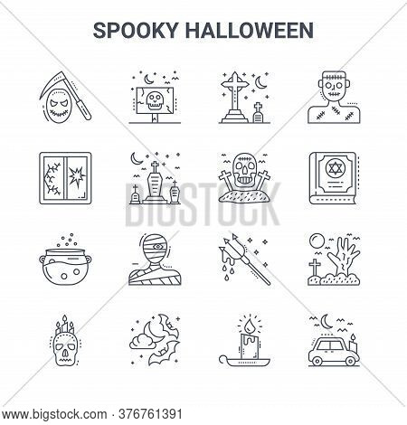 Set Of 16 Spooky Halloween Concept Vector Line Icons. 64x64 Thin Stroke Icons Such As Frightening, B