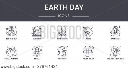 Earth Day Concept Line Icons Set. Contains Icons Usable For Web, Logo, Ui Ux Such As Earth Day, Reus