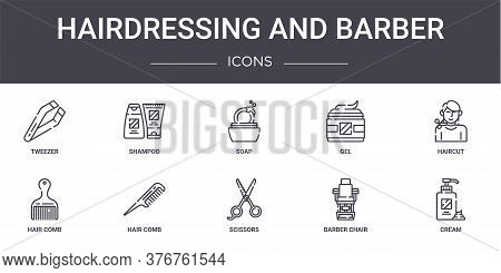 Hairdressing And Barber Concept Line Icons Set. Contains Icons Usable For Web, Logo, Ui Ux Such As S