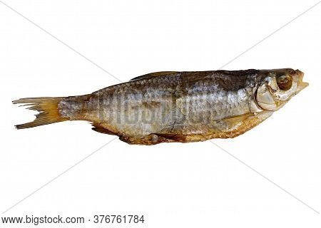 Dried Roach Isolated On A White Background. Dried Fish, Preservation And Preservation.
