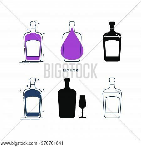 Set Of Bottles With Liquor In Different Styles. Template Alcohol Beverage For Restaurant, Bar, Pub.