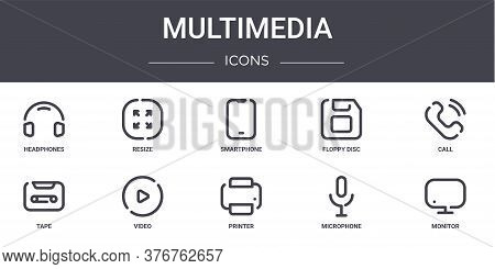 Multimedia Concept Line Icons Set. Contains Icons Usable For Web, Logo, Ui Ux Such As Resize, Floppy