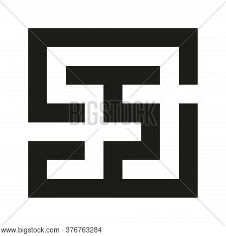 Black Square Vector Maze Icon Isolated On White Background. Easy Labyrinth. Vector Maze Icon. Labyri