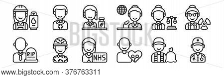 Set Of 12 Thin Outline Icons Such As Paramedic, Social Care, Soldier, Lawyer, Pharmacist, Priest For