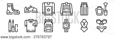Set Of 12 Thin Outline Icons Such As Bikini, Wristwatch, T Shirt, Skirt, Blouse, Sandal For Web, Mob