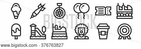 Set Of 12 Thin Outline Icons Such As Dartboard, Clown, Rollercoaster, Ticket, Unicycle, Dart For Web