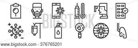 Set Of 12 Thin Outline Icons Such As Lung, Checkup, Saline, Thermometer, Smartphone, Man For Web, Mo