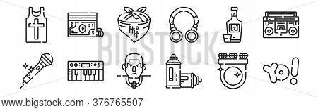 Set Of 12 Thin Outline Icons Such As Hip Hop, Spray Paint, Synthesizer, Vodka, Bandana, Money For We