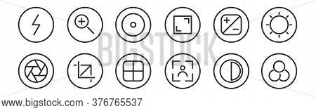 Set Of 12 Thin Outline Icons Such As Filter, Camera, Crop, Contrast, Record, Zoom In For Web, Mobile