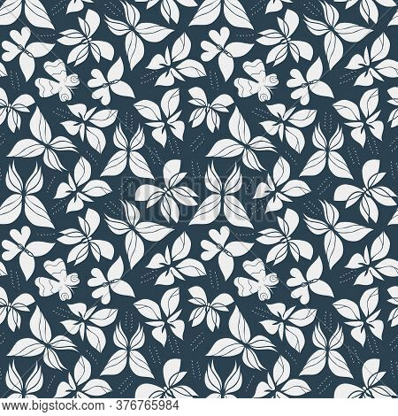 Beautiful Butterfly Seamless Pattern. Elegant Backgroung With Butterflies. Black And White Wallpaper