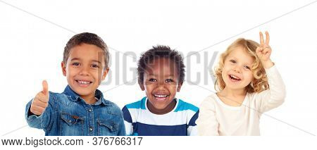 Three different children together isolated on a white background