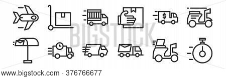 Set Of 12 Thin Outline Icons Such As On Time, Truck, Truck, Truck, Package For Web, Mobile