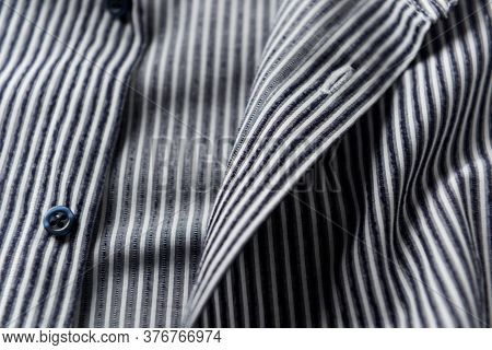Close Up Of Men's Striped Shirt. Front View.