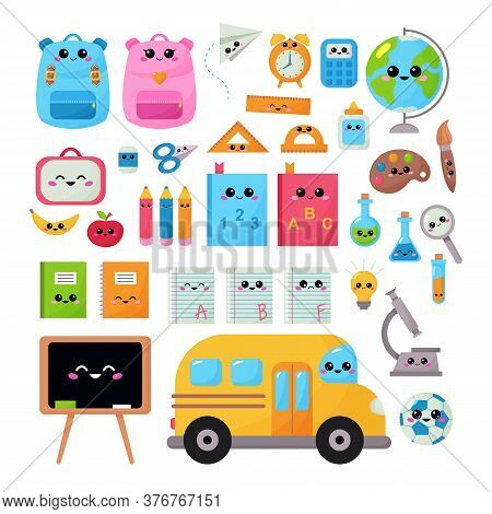Back To School Vector Kawaii Set For Children. Educational Clipart Objects With Kawaii Face. Funny C