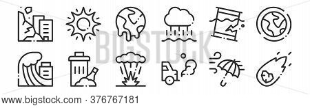 Set Of 12 Thin Outline Icons Such As Meteor, Car, Trash, Oil Spill, Global Warming, Sun For Web, Mob