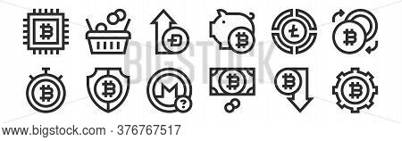 Set Of 12 Thin Outline Icons Such As Bitcoin, Money, Bitcoin, Pie Chart, Bitcoin, Shopping Cart For