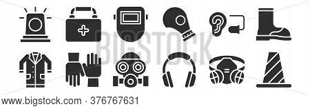 Set Of 12 Thin Outline Icons Such As Cone, Ear Protection, Gloves, Ear Plug, Welding Mask, First Aid
