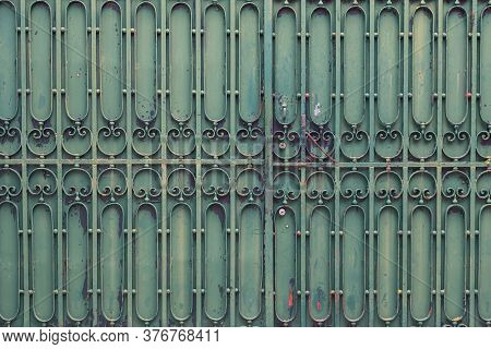 Metal Ancient Background With Green Iron Decor
