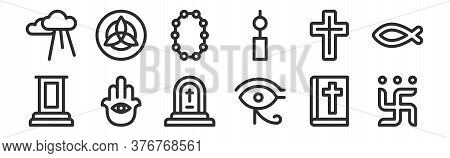 Set Of 12 Thin Outline Icons Such As Swastika, Eye Of Ra, Hamsa, Cross, Beads, Holy Trinity For Web,