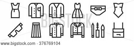Set Of 12 Thin Outline Icons Such As Handbag, Jacket, Skirt, Panties, Cardigan, Shirt For Web, Mobil