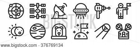 Set Of 12 Thin Outline Icons Such As Space Capsule, Flag, Mercury, Blaster, Satellite Dish, Space St