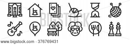 Set Of 12 Thin Outline Icons Such As Chess Pieces, Grandmother, Retirement Home, Hourglass, Playing