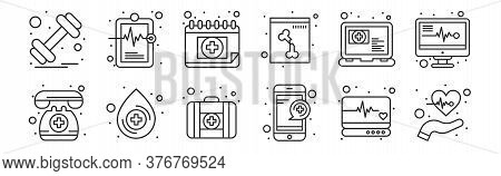 Set Of 12 Thin Outline Icons Such As Care, Medical Service, Blood Drop, Medical Appointment, Medical