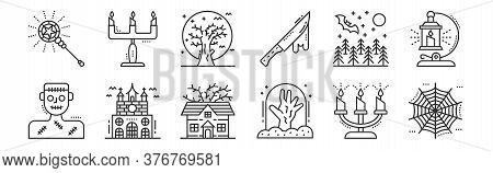 Set Of 12 Thin Outline Icons Such As Spider Web, Graveyard, Haunted House, Night, Dead Tree, Candle