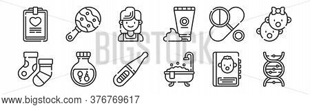 Set Of 12 Thin Outline Icons Such As Dna, Bath Tub, Sperm, Pills, Mother, Rattle For Web, Mobile