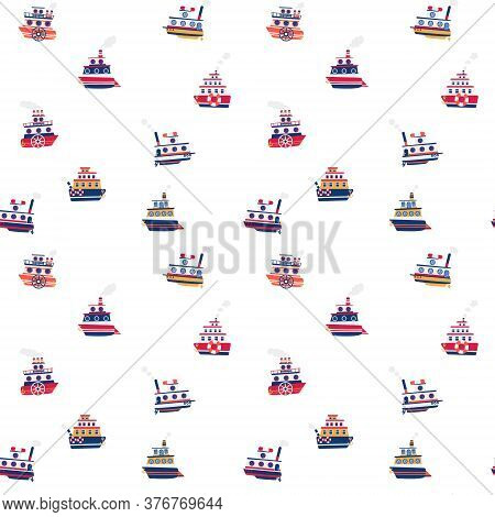 Cute Seamless Pattern With Different Ships On White Background. Steamboat, Cruise Liner, Longboat An