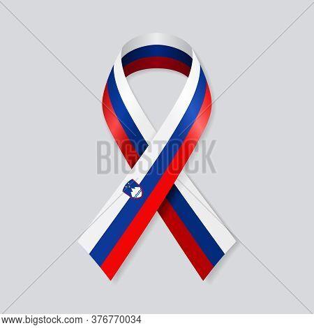 Slovenian Flag Stripe Ribbon On White Background. Vector Illustration.