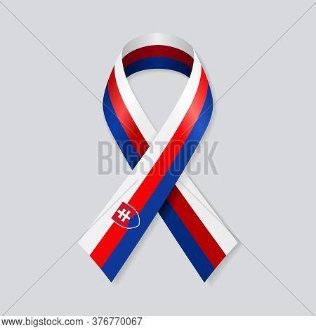 Slovakian Flag Stripe Ribbon On White Background. Vector Illustration.