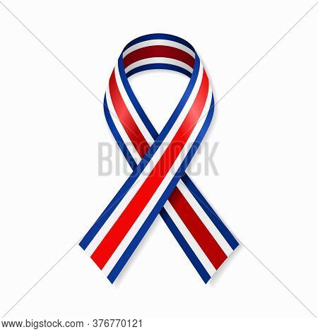 Costa Rican Flag Stripe Ribbon On White Background. Vector Illustration.