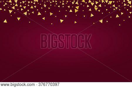 Gold Shine Paper Red  Background. Falling Rain Wallpaper. Golden Triangle Modern Design. Shard Brigh
