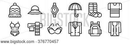 Set Of 12 Thin Outline Icons Such As Cardigan, Jacket, Scarf, Socks, Wristwatch, Hat For Web, Mobile