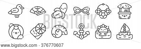 Set Of 12 Thin Outline Icons Such As Sailboat, Anchor, Beach Umbrella, Necklace, Banana, Fan For Web