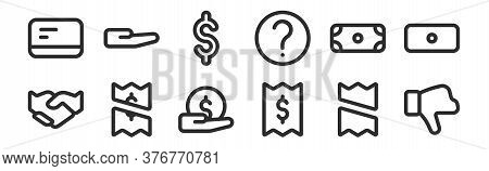 Set Of 12 Thin Outline Icons Such As Dislike, Bill, Payment, Dollar, Dollar, Hand For Web, Mobile