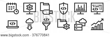 Set Of 12 Thin Outline Icons Such As Stats, Folder, Download, Analytics, Usb Drive, Monitor For Web,