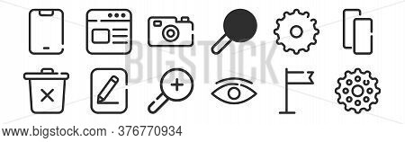 Set Of 12 Thin Outline Icons Such As Gear, Eye, Edit, Setting, Camera, Website For Web, Mobile