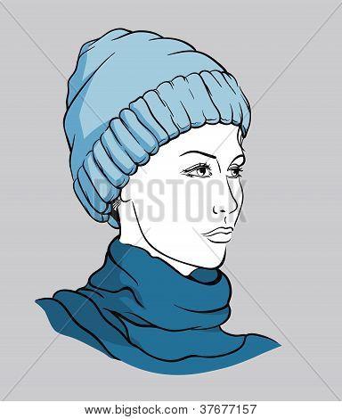 Girl with winter cap