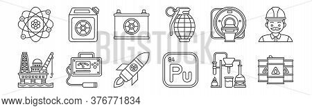 Set Of 12 Thin Outline Icons Such As Oil Tanker, Plutonium, Geiger Counter, Ct Scan, Battery, Fuel F