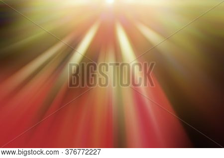 Radial Multicolored Light Rays, Blurred Background. Abstract Background For Design.