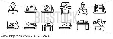 Set Of 12 Thin Outline Icons Such As Working, Email, Chat, Working At Home, Mute, Database For Web,