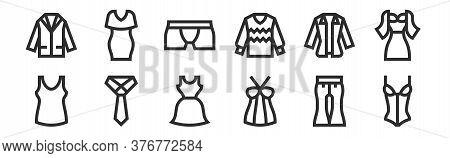 Set Of 12 Thin Outline Icons Such As Corset, Top, Tie, Shirt, Underwear, Dress For Web, Mobile