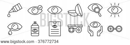 Set Of 12 Thin Outline Icons Such As Testing Glasses, Testing Glasses, Spray, Eye Test, Eye, Eye For
