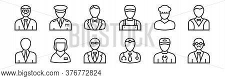 Set Of 12 Thin Outline Icons Such As Teacher, Doctor, Babysitter, Baker, Butler, Captain For Web, Mo