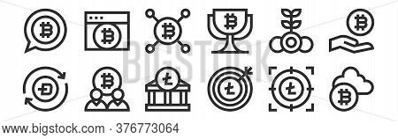 Set Of 12 Thin Outline Icons Such As Cryptocurrency, Goal, Bitcoin, Bitcoin, Bitcoin, Browser For We