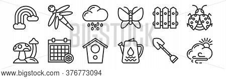 Set Of 12 Thin Outline Icons Such As Cloudy, Water Pot, Season, Fence, Rainy Day, Dragon Fly For Web