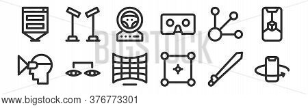 Set Of 12 Thin Outline Icons Such As Smartphone, Selector, Connection, Options, Steering Wheel, Sens