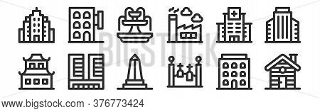 Set Of 12 Thin Outline Icons Such As Cabin, Cementery, Office Building, Hospital, Fountain, Hotel Fo